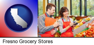 Fresno, California - two grocers working in a grocery store