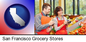 San Francisco, California - two grocers working in a grocery store