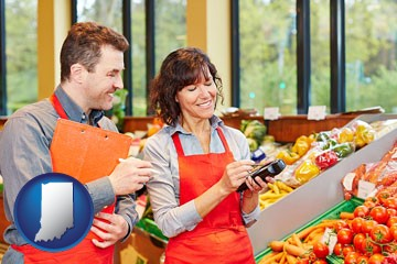 two grocers working in a grocery store - with Indiana icon