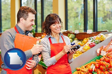two grocers working in a grocery store - with Missouri icon