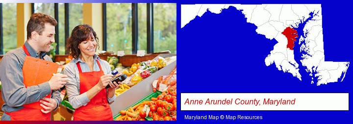two grocers working in a grocery store; Anne Arundel County, Maryland highlighted in red on a map