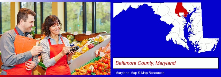 two grocers working in a grocery store; Baltimore County, Maryland highlighted in red on a map