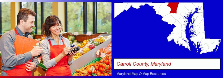 two grocers working in a grocery store; Carroll County, Maryland highlighted in red on a map