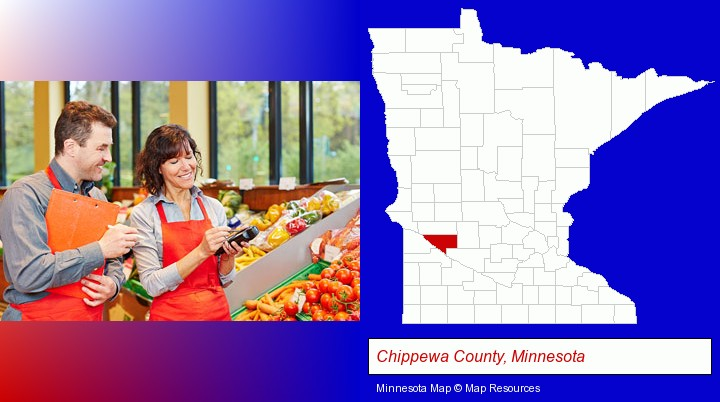 two grocers working in a grocery store; Chippewa County, Minnesota highlighted in red on a map