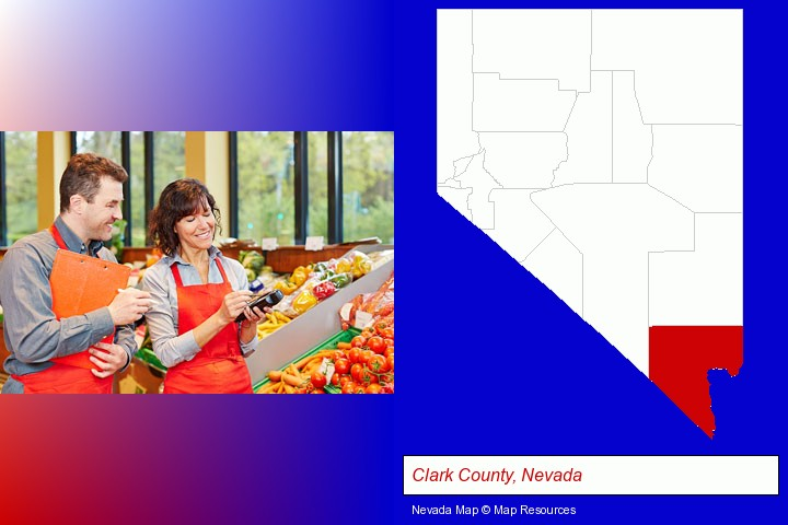 two grocers working in a grocery store; Clark County, Nevada highlighted in red on a map