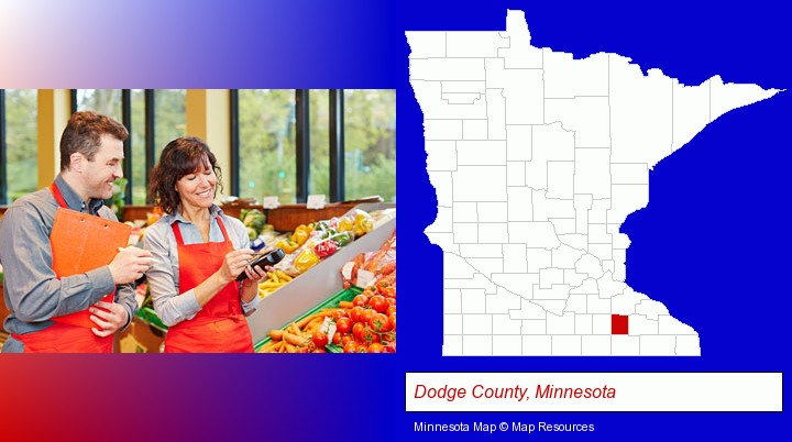 two grocers working in a grocery store; Dodge County, Minnesota highlighted in red on a map