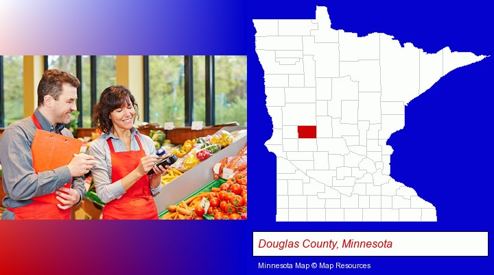 two grocers working in a grocery store; Douglas County, Minnesota highlighted in red on a map