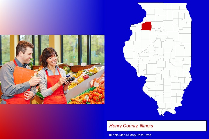 two grocers working in a grocery store; Henry County, Illinois highlighted in red on a map