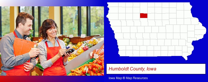two grocers working in a grocery store; Humboldt County, Iowa highlighted in red on a map