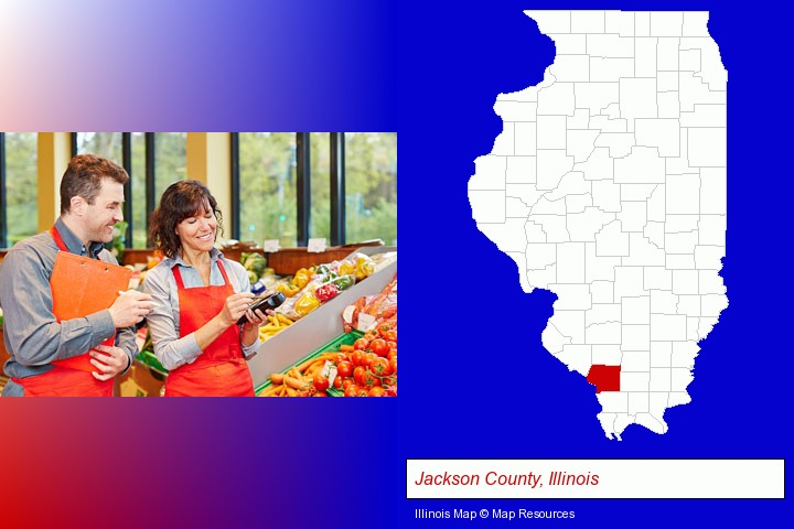 two grocers working in a grocery store; Jackson County, Illinois highlighted in red on a map