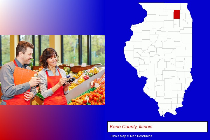 two grocers working in a grocery store; Kane County, Illinois highlighted in red on a map