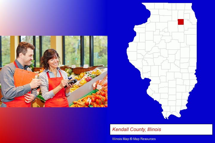two grocers working in a grocery store; Kendall County, Illinois highlighted in red on a map