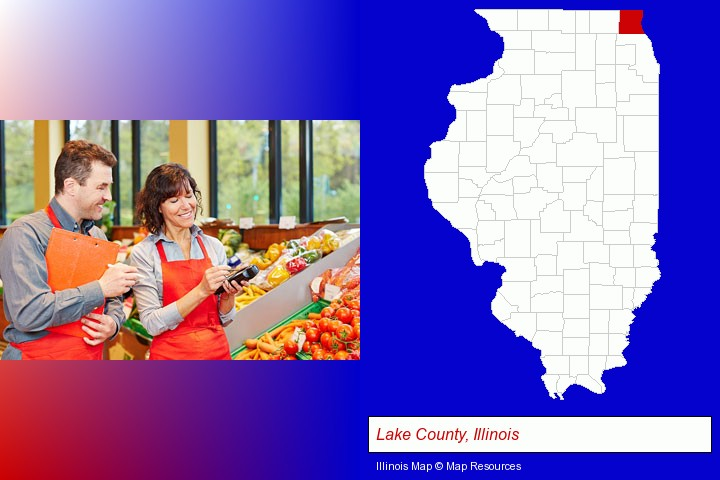 two grocers working in a grocery store; Lake County, Illinois highlighted in red on a map