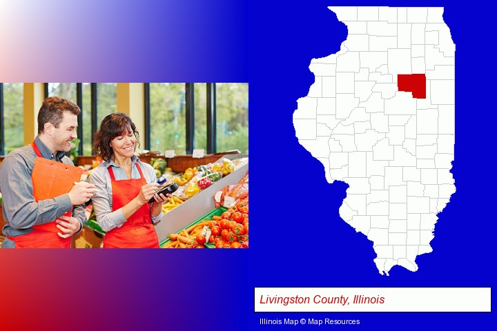 two grocers working in a grocery store; Livingston County, Illinois highlighted in red on a map