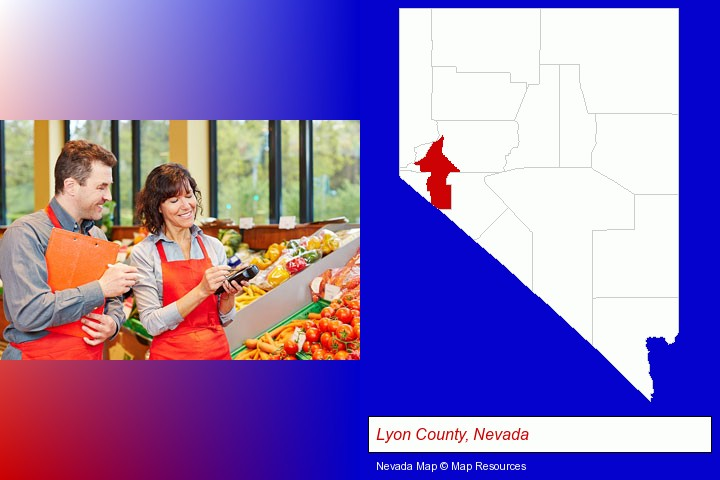 two grocers working in a grocery store; Lyon County, Nevada highlighted in red on a map