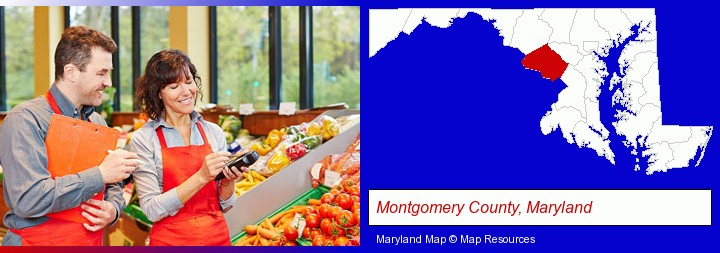two grocers working in a grocery store; Montgomery County, Maryland highlighted in red on a map