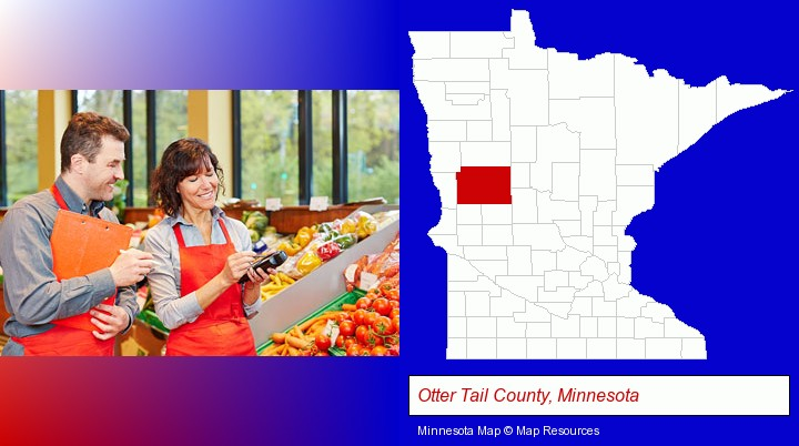 two grocers working in a grocery store; Otter Tail County, Minnesota highlighted in red on a map