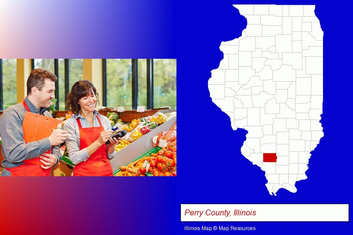 two grocers working in a grocery store; Perry County, Illinois highlighted in red on a map