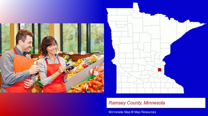 two grocers working in a grocery store; Ramsey County, Minnesota highlighted in red on a map