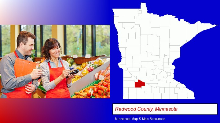 two grocers working in a grocery store; Redwood County, Minnesota highlighted in red on a map
