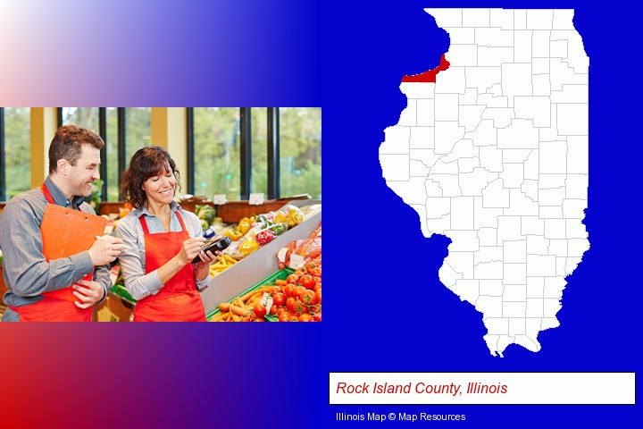 two grocers working in a grocery store; Rock Island County, Illinois highlighted in red on a map