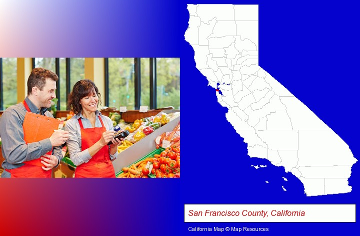 two grocers working in a grocery store; San Francisco County, California highlighted in red on a map