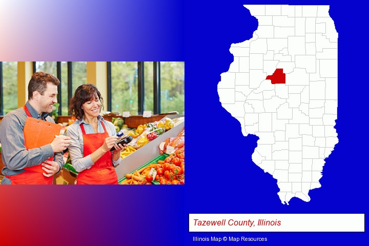 two grocers working in a grocery store; Tazewell County, Illinois highlighted in red on a map