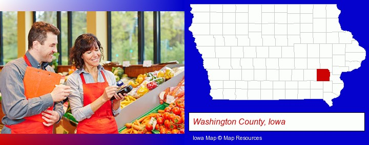 two grocers working in a grocery store; Washington County, Iowa highlighted in red on a map