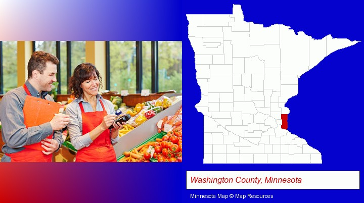 two grocers working in a grocery store; Washington County, Minnesota highlighted in red on a map