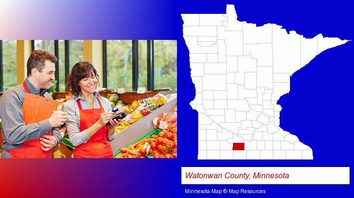 two grocers working in a grocery store; Watonwan County, Minnesota highlighted in red on a map