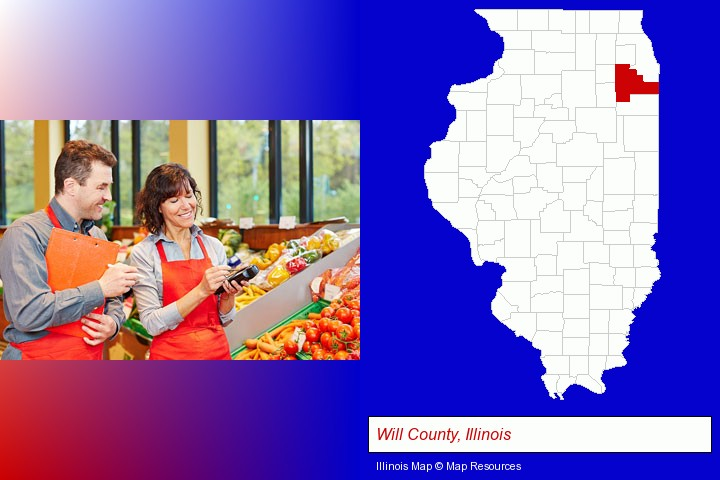 two grocers working in a grocery store; Will County, Illinois highlighted in red on a map