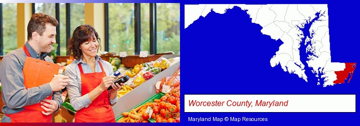 two grocers working in a grocery store; Worcester County, Maryland highlighted in red on a map